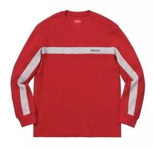 wholesale dealer 7cf17 3253c Image is loading SUPREME-PANEL-STRIPE-WAFFLE-THERMAL-RED-LARGE ...