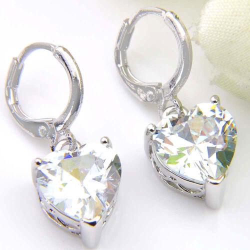 Coeur de feu Kunzite Morganite Péridot onyx zirconium Topaz Silver Dangle Earrings