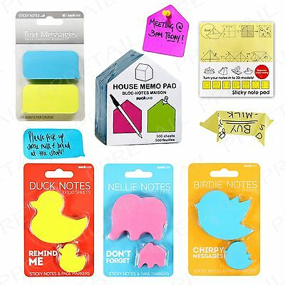Memo Pads + FUN ASSORTED SHAPES + Sticky Notes Adhesive Office/Work Stationery