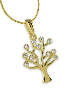 Details zu ECHT GOLD *** Zirkonia Lebensbaum Baum Anhänger 1519 mm, optional mit Kette