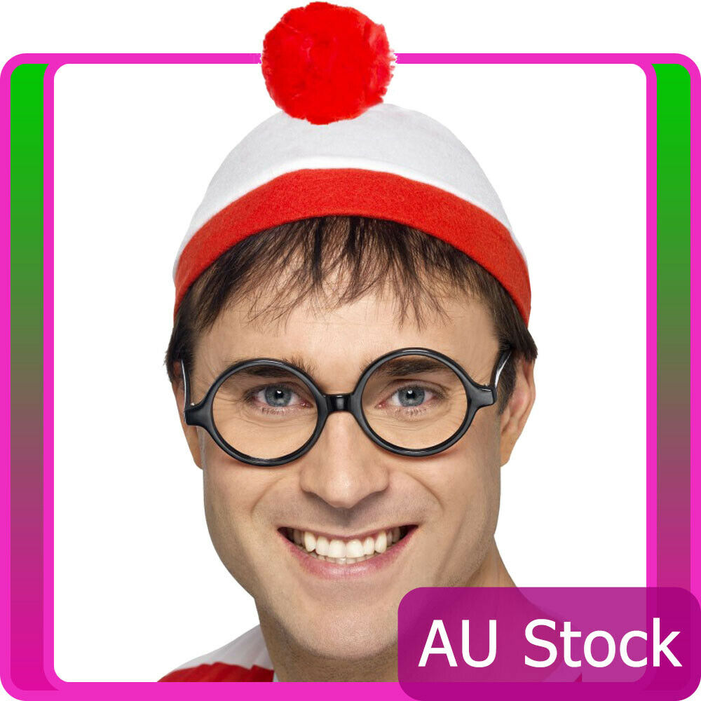 Adults Wheres Wally Instant Kit Costume Mens Ladies Wenda Waldo Book Week Outfit