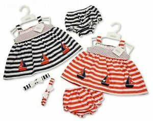 Baby-Girl-Sun-Dress-Set-Headband-Pants-Nautical-Boats-0-3-6-9M-Red-Navy-Clothes
