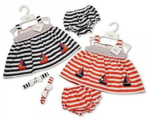 Baby Girl Sun Dress Set Headband Pants Nautical Boats 0-3-6-9M Red Navy Clothes