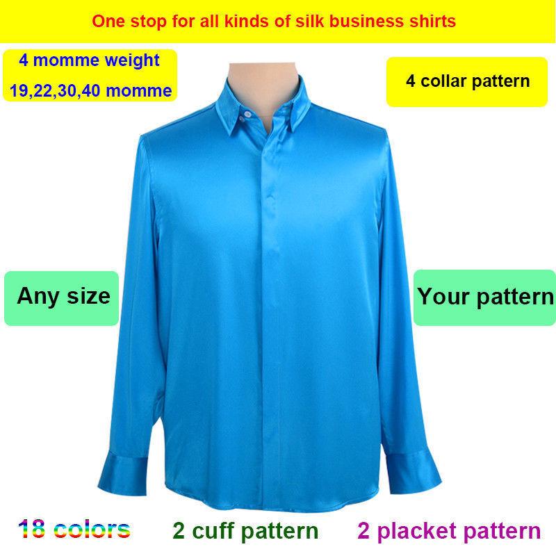 Para hombres 19-40 mm  100% Seda de Morera Real Empresa Informal Camisa Todas las Tallas sisterssilk  Garantía 100% de ajuste
