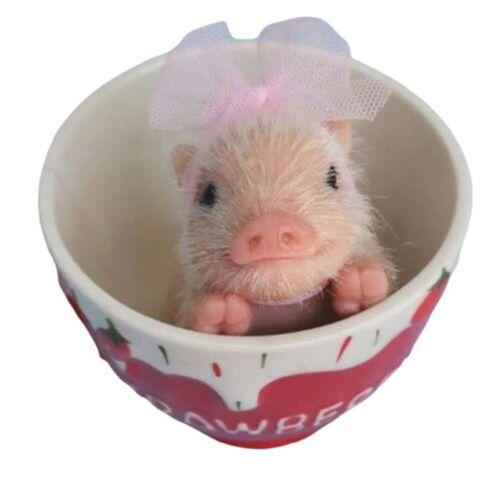 Full Body Silicone Piglet Cute Lifelike Black Piggy Realistic Animals Dolls Toys