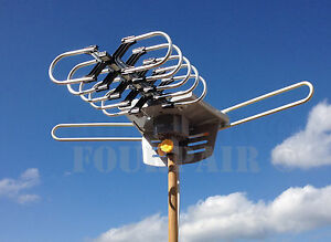 hdtv 1080p outdoor amplified digital antenna 360 rotor hd tv uhf vhf