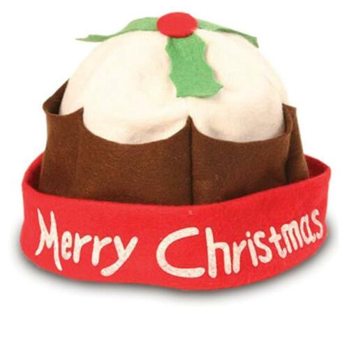 Christmas Pudding Xmas Hat Festive Party Dinner Food Cake Pud Novelty