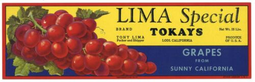 Vintage Lodi Tokay Grapes LIMA SPECIAL Brand **AN ORIGINAL FRUIT CRATE LABEL**