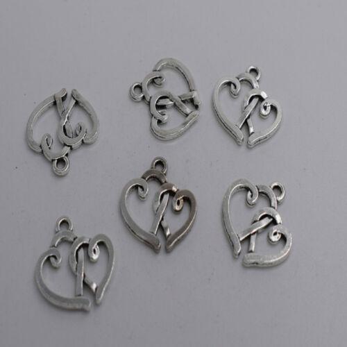 16pcs Antique silver double heart charm pendant T0012