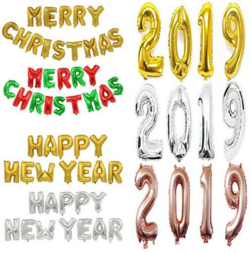 2019 Happy New Year Gold Foil Balloons Eve Party Merry Christmas Decorations