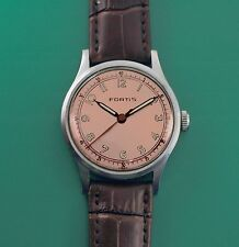 Vintage 40's FORTIS near NOS Condition  Men's Classic Watch ORIGINAL PINK DIAL!