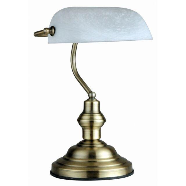 Globo 2492 Antique / Tischleuchte Bankerlampe / Altmessing glas alabaster 60W E2