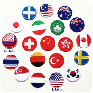 National Flag Round Patch Emblem Embroidered Sew Iron On Country Badge Applique