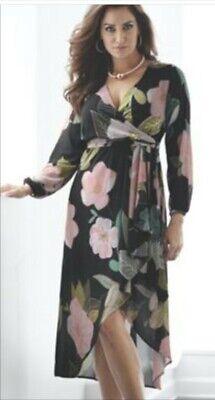 Midnight Velvet Black Sparkle Floral Bloom Dress Summer Cruise L XL 2X 3X Plus