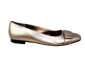 Talbots-Gold-Leather-Slip-On-Buckle-Flats-Womens-Size-9-5B
