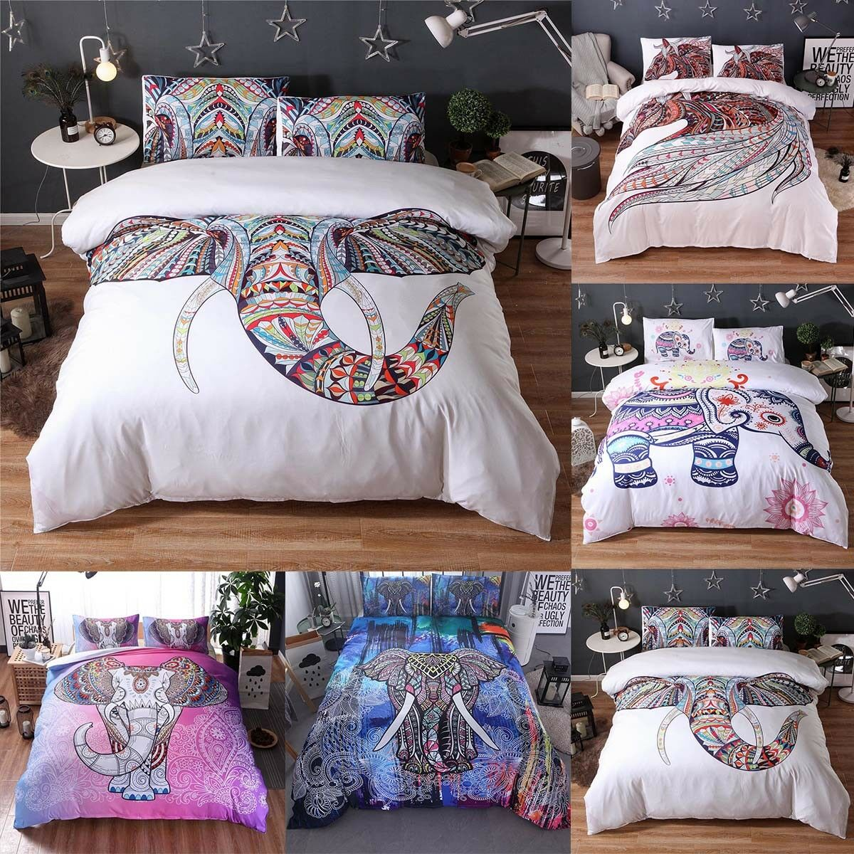 Bedroom Elephant Indian Duvet Doona Cover Boho Quilt Cover Bedding Set Fashion
