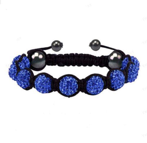 Azul Oscuro Indigo Cristal con pilas de pulsera de apilamiento de Cordón Shamballa