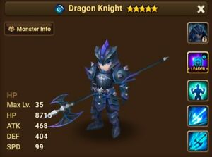 Details about Summoners War Starter Account Water Dragon Knight CHOW