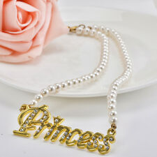 Fashion Gold Plated Letter Princess Pendant Pearl Chain Necklace Choker