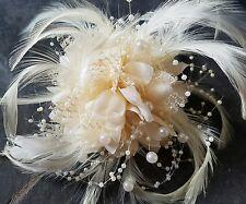 Crema Flor Pluma, un montón de granos. 3in1 Corsage, Cabello Clip Fascinator de la boda.