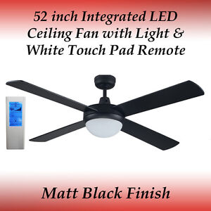 52 Inch 4 Blade Black Led Ceiling Fan With 24 Watt Light And White