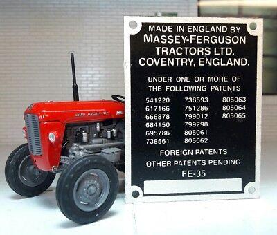 Comisión De Tractor Massey Ferguson Massey Vintage Placa 11 patentes 0