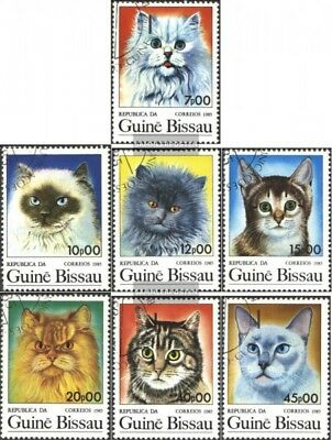 Fine Used / Cancelled 1985 Cats Exquisite Considerate Guinea-bissau 856-862 Workmanship complete.issue. In