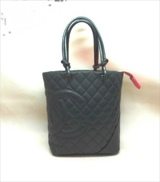 d13be39fa9d3 CHANEL CC Cambon Line Medium Tote Hand Bag Leather Black A25167 Used