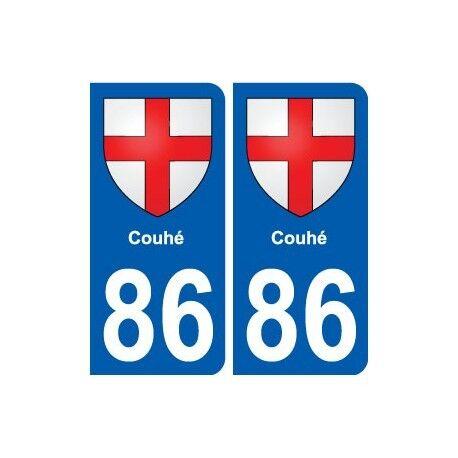 86 Couhé blason autocollant plaque stickers ville arrondis