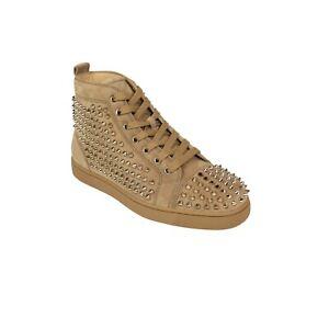 NIB-CHRISTIAN-LOUBOUTIN-Tan-Suede-Spikes-Hi-Top-Sneakers-Shoes-7-US-40-EU