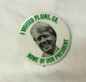 Presidential-Political-Pinback-Button-JIMMY-CARTER-1-3-4-034-PLAINS-GEORGIA