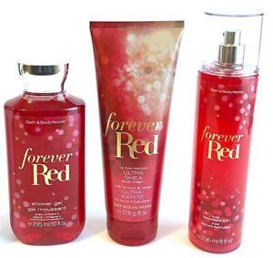 Bath-amp-Body-Works-Forever-Red-Fragrance-Mist-Body-Cream-Shower-Gel-Set-of-3-New