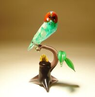 Blown Glass murano Art Figurine Bird Owl With Red Eyes On A Branch