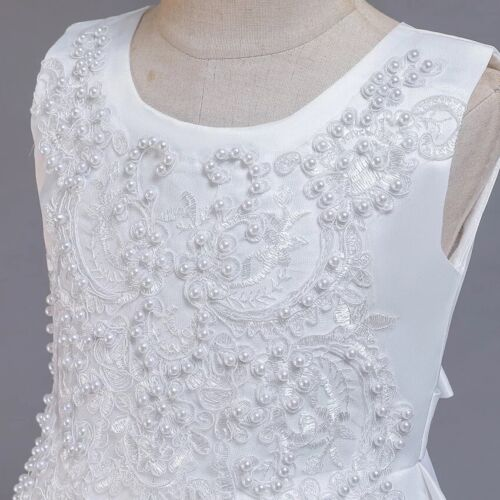 Flower Girl Communion Prom Princess Pageant Party Wedding white lace dress
