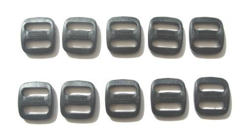 13mm Black Plastic 3 Bar Slides x100 Triglides Webbing Bags Straps Leads Collars
