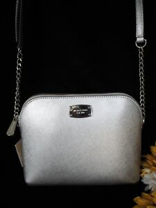 16944a81b5dc Michael Michael Kors MK Cindy LG Dome Crossbody Silver Brand New w ...
