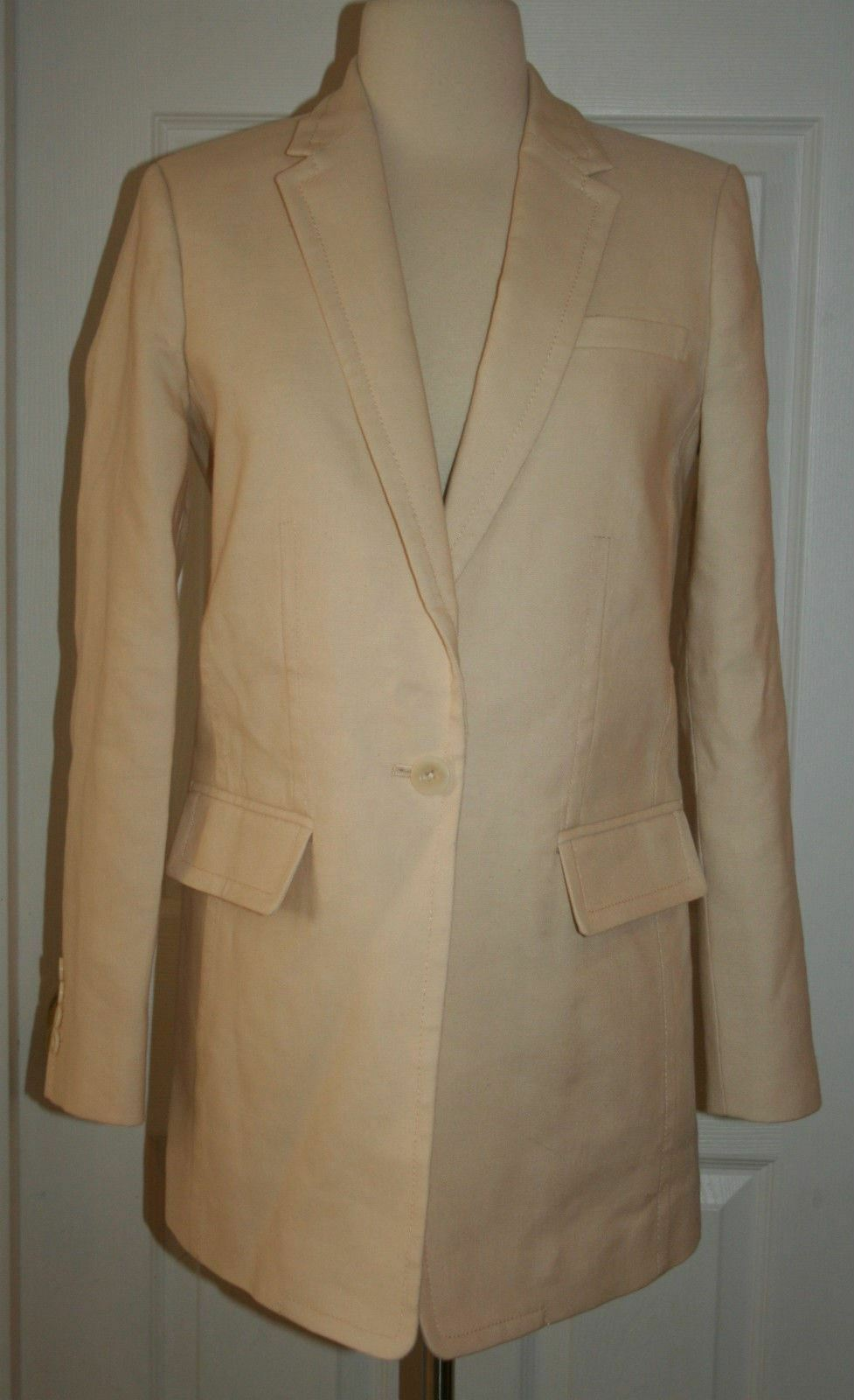 J.CREW COLLECTION LONG ONE-BUTTON BLAZER IN LINEN SIZE 0 IVORY RETAIL