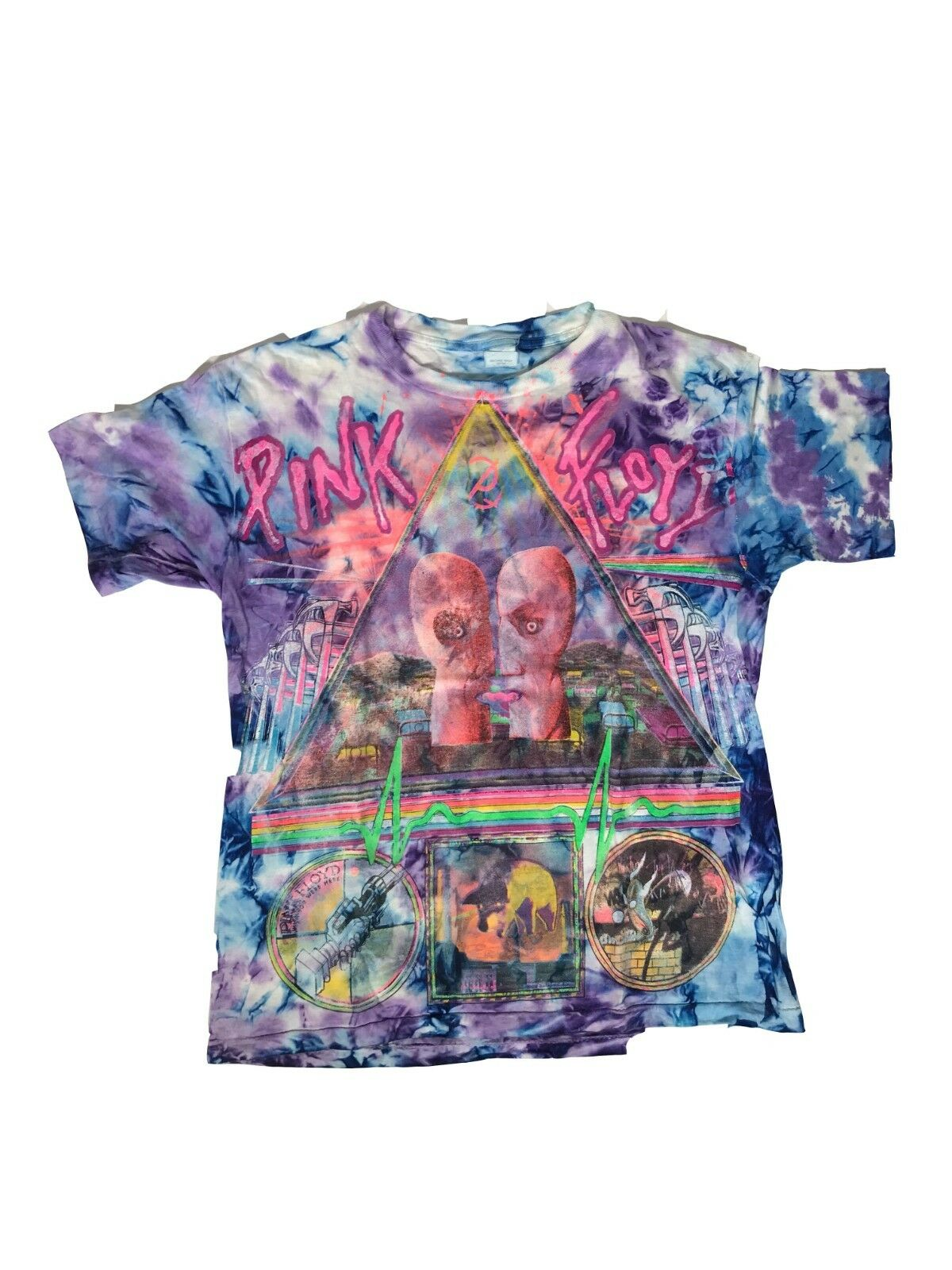 23383d93f Vintage VTG 90s Pink Floyd Bell Tie Tour T-Shirt Division Dye ...