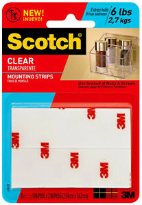 3M-Scotch-Clear-Mounting-Strips-1-034-x-3-034-Indoor-Outdoor-UV-Resistant-8ct