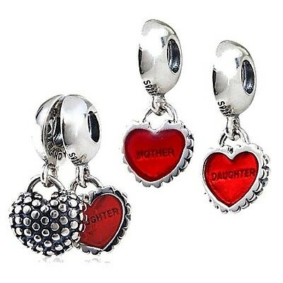 Sterling Silver Plated 925 Mother Daughter two piece Charm European Bracelets