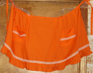 New-Handmade,Wide Apron Orange w/white lace trim-2 pockets and ruffle at bottom