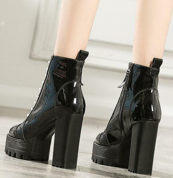 Women Women Women High Chunky Heel Platform Patent Leather Boots Lace Up Party Casual Velvet d5cf67