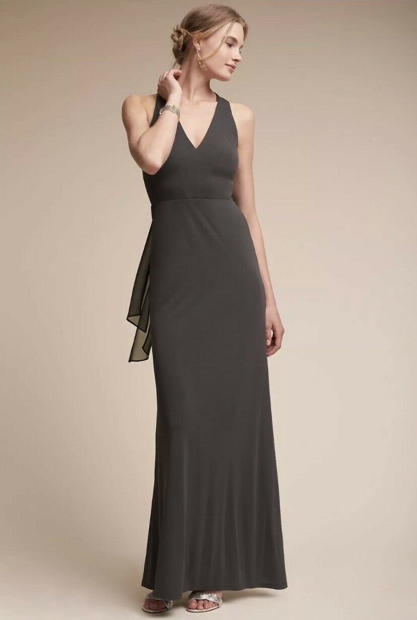 Anthropologie Billiard Dress BHLDN Long Maxi Tie Back Grey Size 12