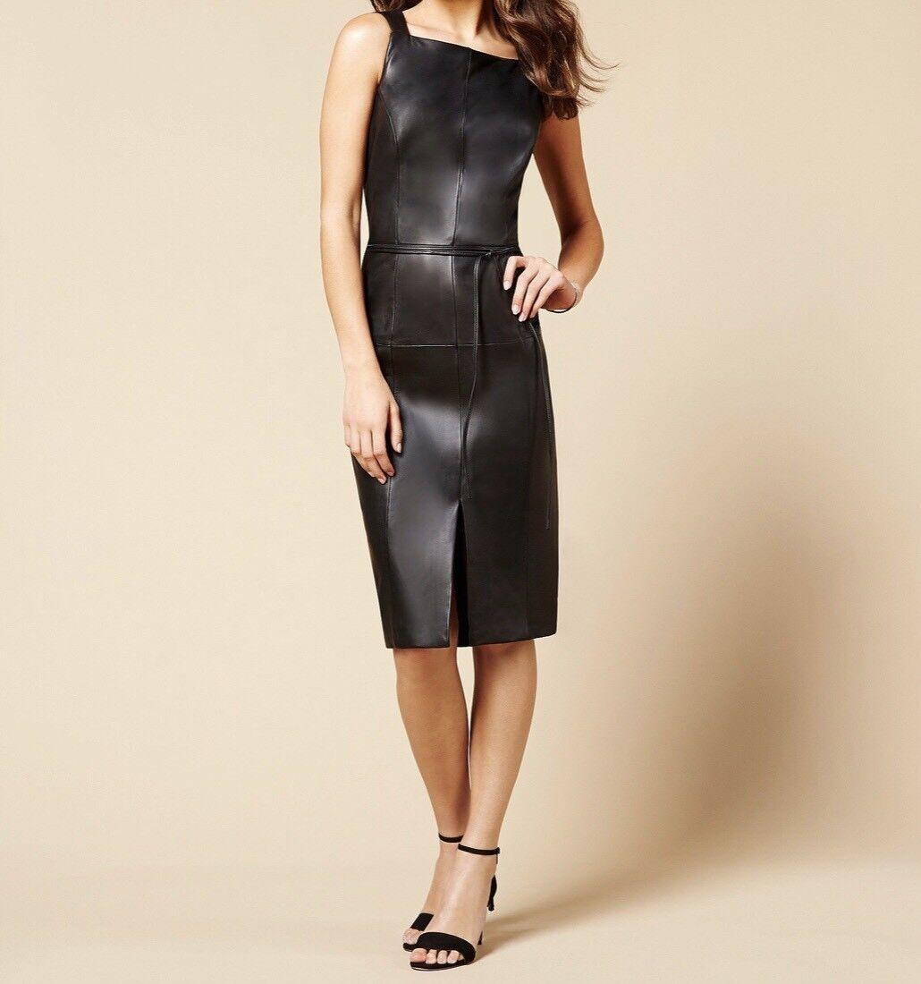 Antonio Melani Luxury Collection Koko Front Slit Genuine Leather Dress Size 4