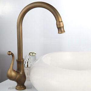 Antique Brass Swivel Spout Mono Kitchen Sink Basin Mixer Tap Single Lever Faucet Ebay