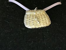 "Fishing Basket TG22 English Pewter On 18"" Purple Cord Necklace"