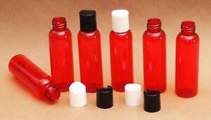 New-2-Oz-Plastic-Red-PET-Bottles-w-Dispensing-black-caps-Travel-size-10-PACK
