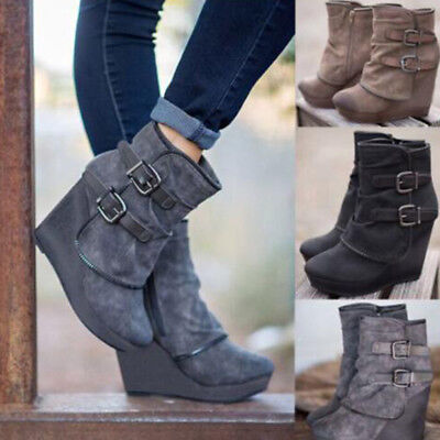 Women/'s Vintage High Wedge Heel Short Boots Winter Martin Snow Punk Boot Shoes