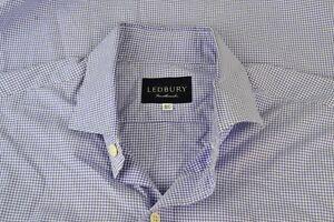 Ledbury-Blue-White-Small-Gingham-Cotton-Spread-Collar-Dress-Shirt-Sz-16-1-2