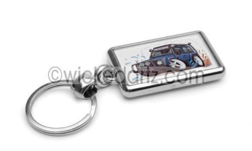 RetroArtz Cartoon Car Land Rover Defender in Blue Premium Metal Key Ring